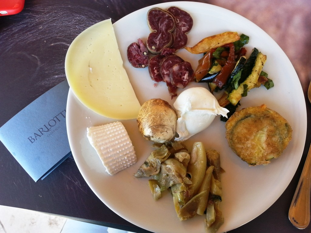 Lunch at Barlotti with a variety of fresh local cheeses