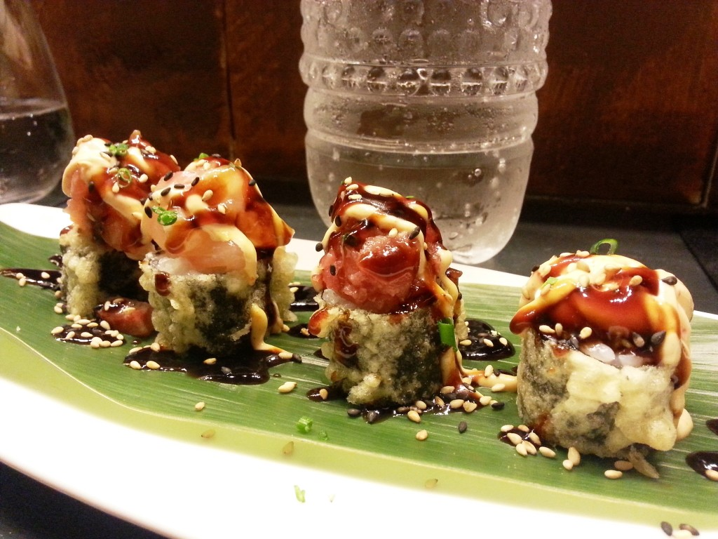 A very special set with warm tempura rolls topped with cold fresh fish - mouthfuls of delight